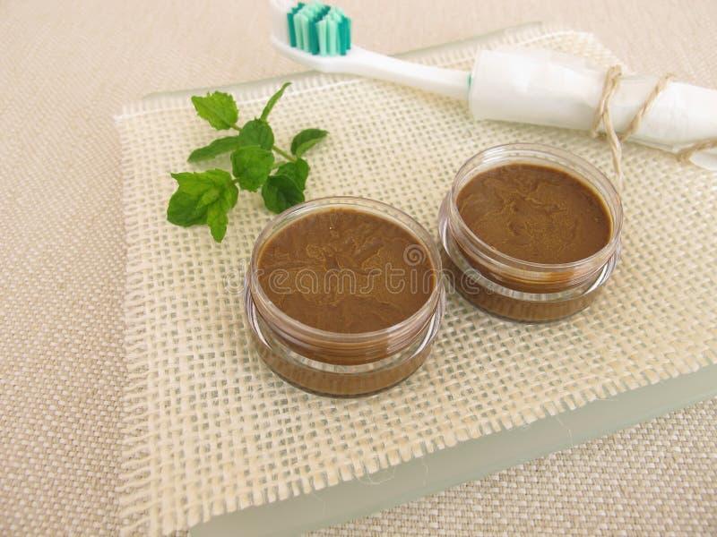 Tandkräm från kokosnötolja och att läka lerapulver och pepparmintolja royaltyfri foto