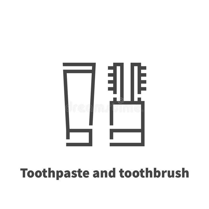 Tandkräm- och tandborstesymbol, vektorsymbol vektor illustrationer