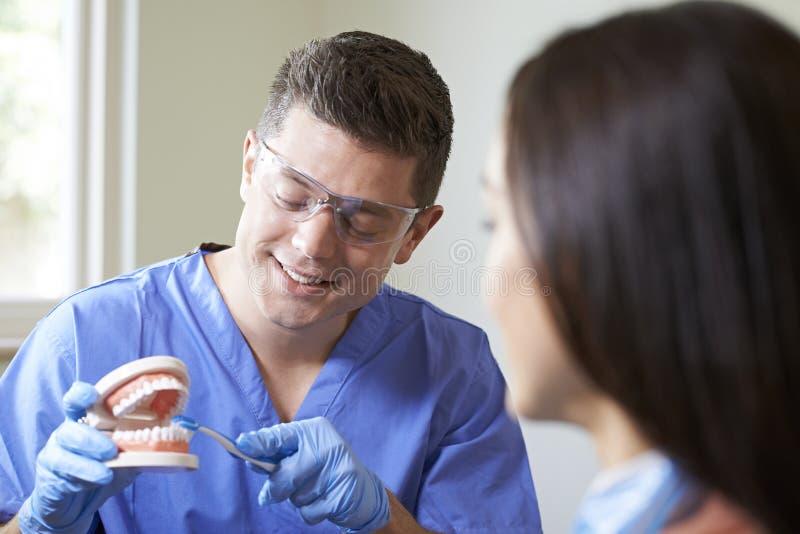 Tandläkare Demonstrating Correct Use av tandborsten till den kvinnliga klienten arkivfoto