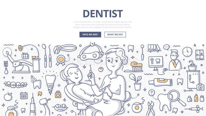 Tandläkare Doodle Concept stock illustrationer