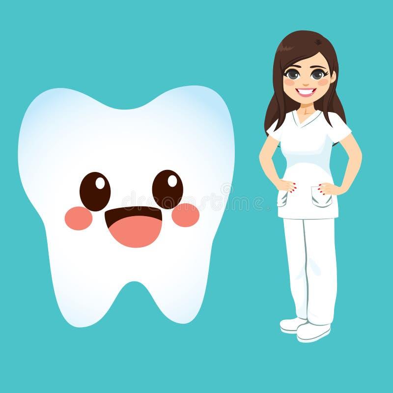 Tandläkare Female And Tooth stock illustrationer