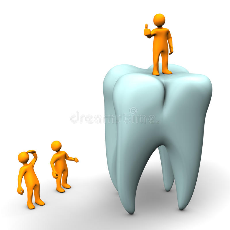 Tandläkare på tanden royaltyfri illustrationer