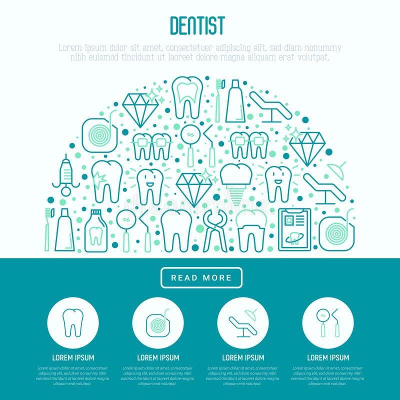 Tandläkarebegrepp i halv cirkel stock illustrationer