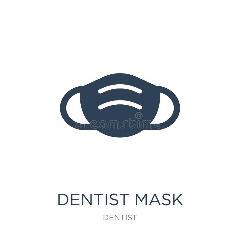 tandläkaremaskeringssymbol i moderiktig designstil tandläkaremaskeringssymbol som isoleras på vit bakgrund enkel symbol för tandl royaltyfri illustrationer