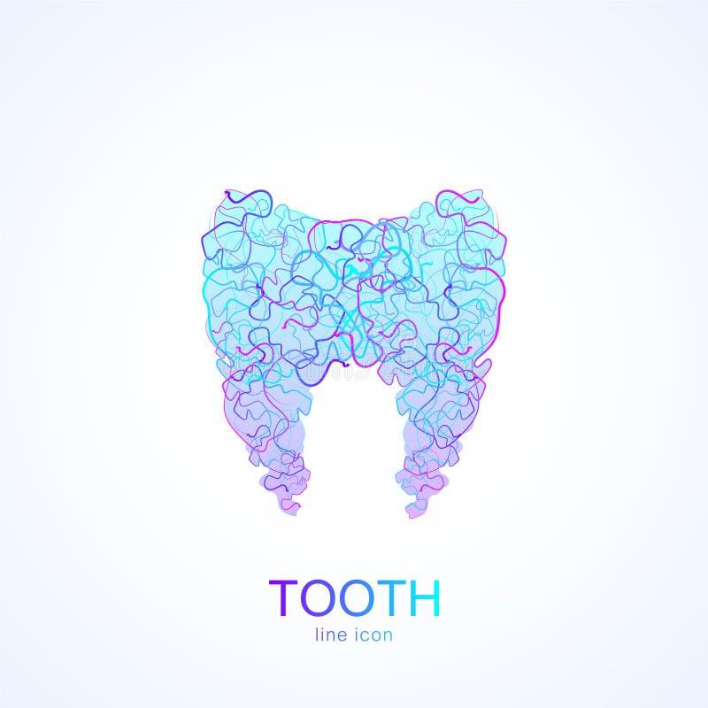Tandlogo i linjär tand- mall för vektor för design för kliniktandabstrakt begrepp Medicinsk logotyp, symbol royaltyfri illustrationer