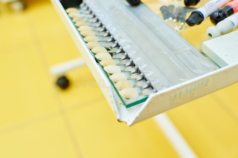 Tandmateriaal, tandheelkunde, medische apparaten voor de behandeling en de restauratie van tanden stock foto's