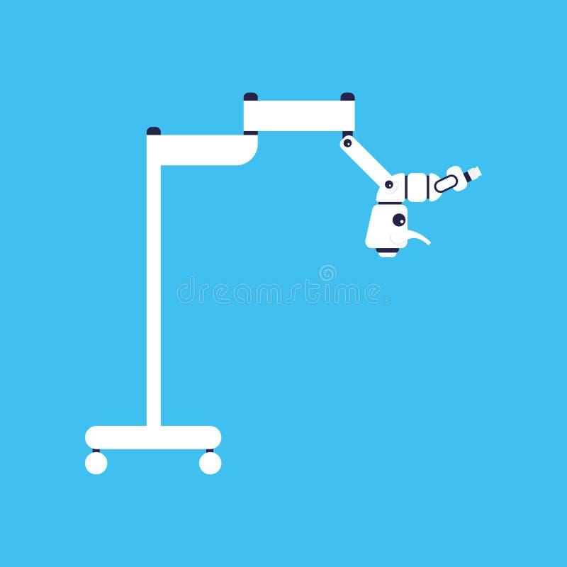 Tandmicroscoopvector Vlak medisch hulpmiddel Medische apparatuur vector illustratie