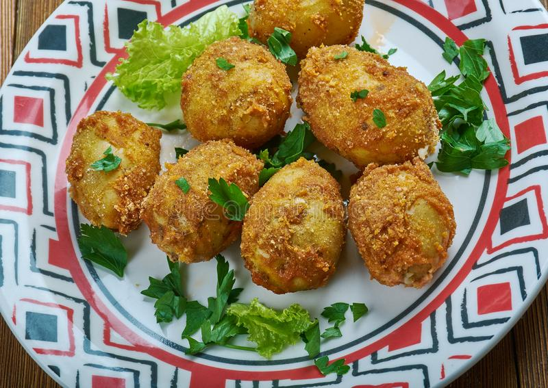 Tandoori aloo tikka. Spiced marinated potatoes which are either grilled or pan frie.Indian cuisine royalty free stock photography