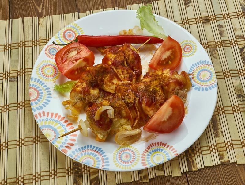 Tandoori Chaap Tikka Dry. Dish is popular in North India stock photo