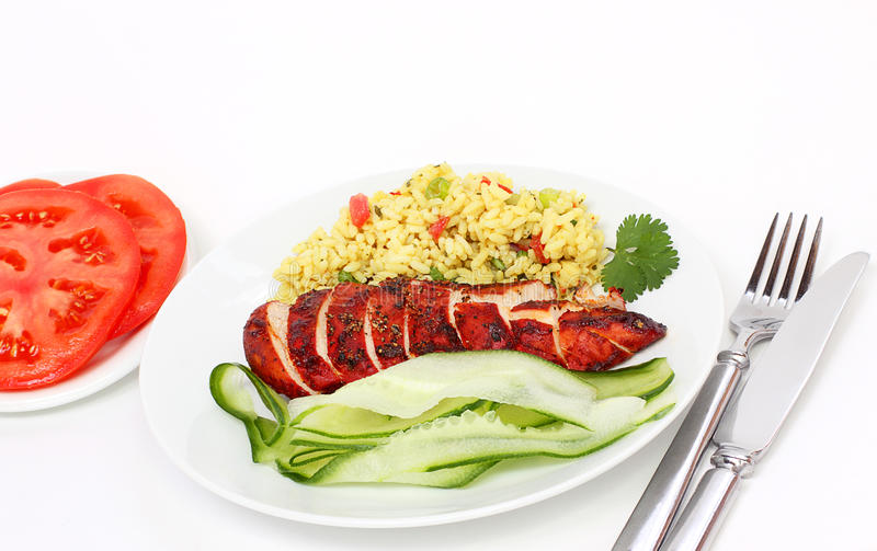 Tandoori chicken dinner stock photo
