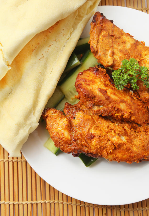 Tandoori chicken and flatbread royalty free stock photography