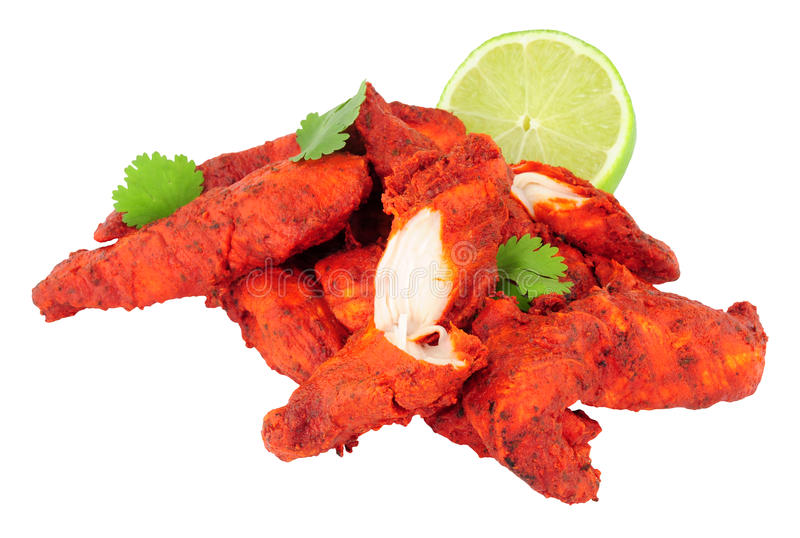 Tandoori Chicken Isolated On A White Background royalty free stock photos