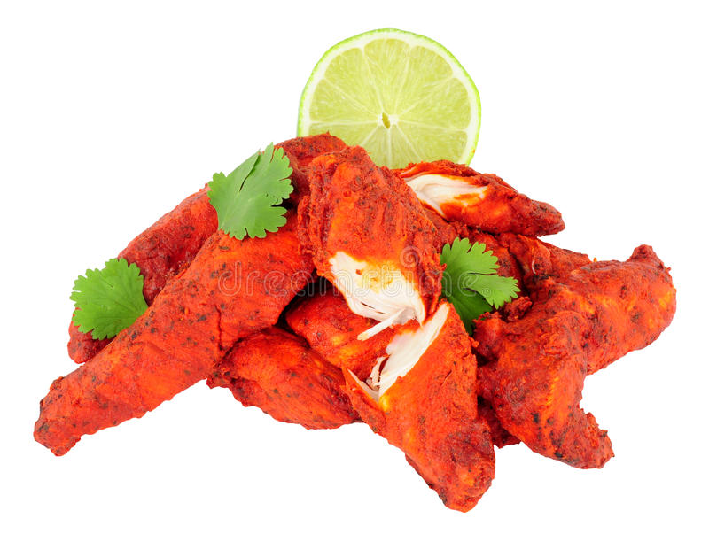 Tandoori Chicken Isolated On A White Background royalty free stock photography
