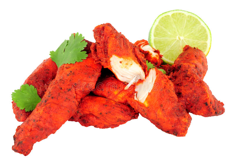 Tandoori Chicken Isolated On A White Background royalty free stock image