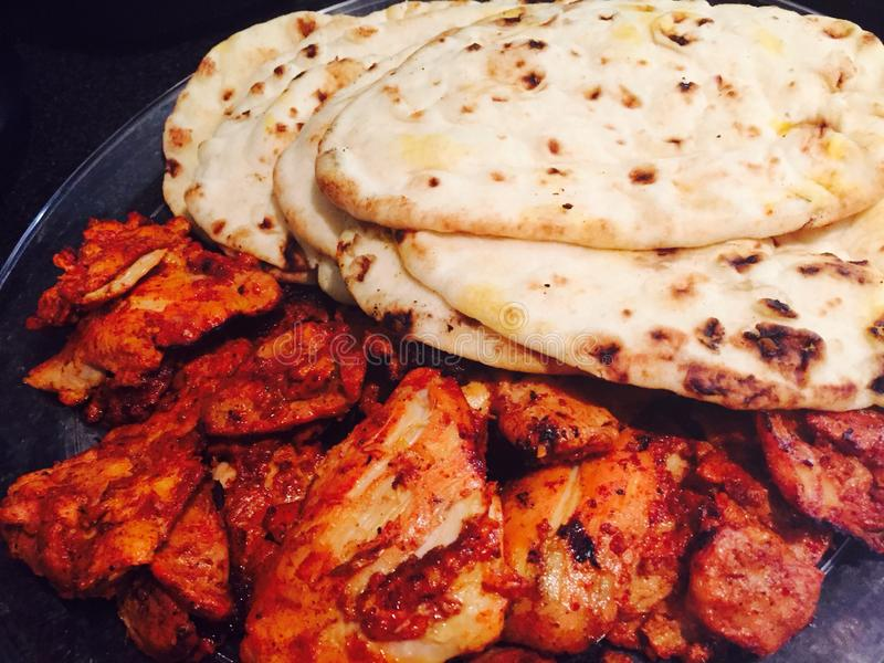 Tandoori Chicken. Naan thighs India food stock photography