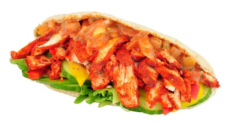 Tandoori Chicken Pitta Bread Sandwich stock photo