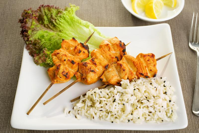 Tandoori chicken with rice and salad. royalty free stock photography