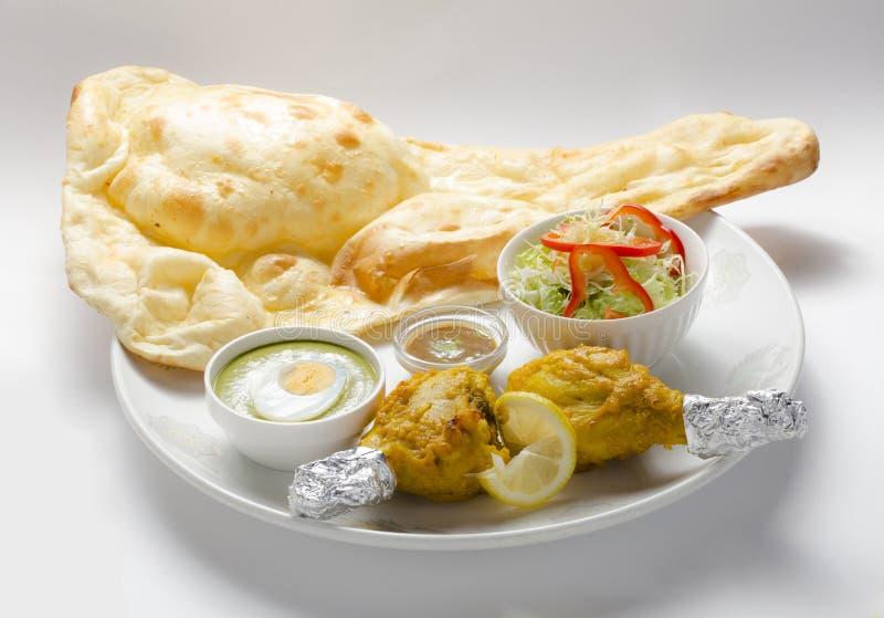 Tandoori chicken set with naan stock image