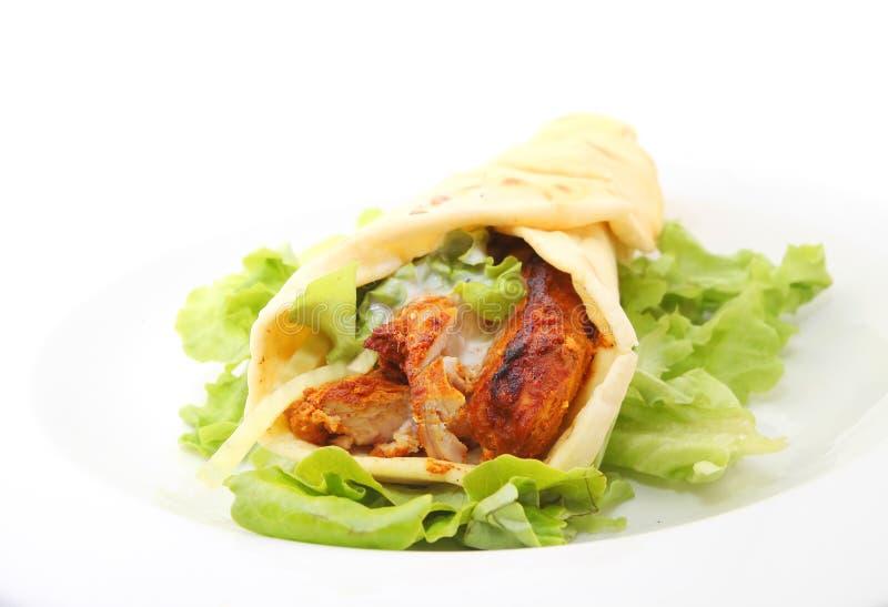 Tandoori chicken wrap stock photos