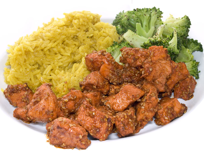 Tandoori met broccoli en rijst stock foto's