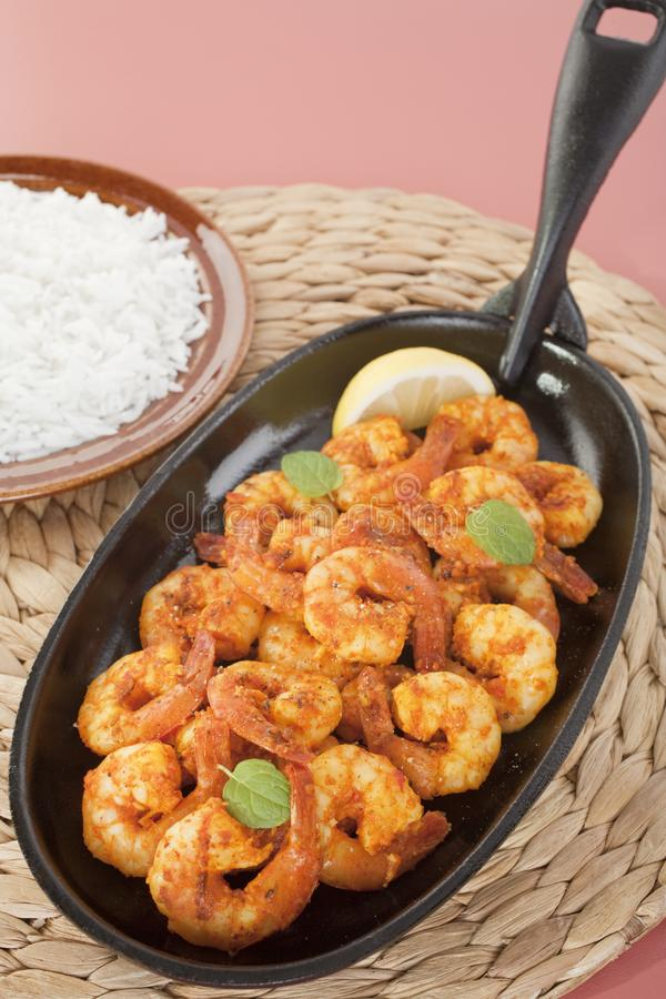 Tandoori Prawns Shrimp Indian Curry Food Meal royalty free stock images