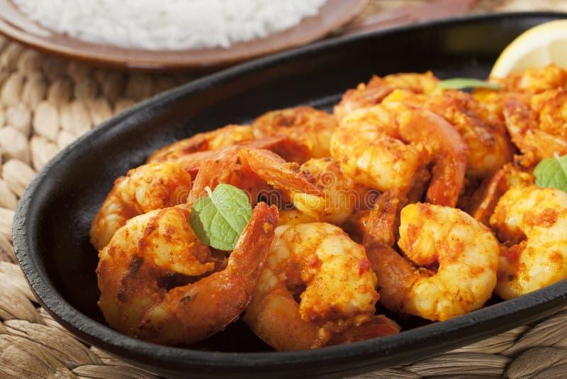 Tandoori Prawns Shrimp Indian Curry Food Meal stock images