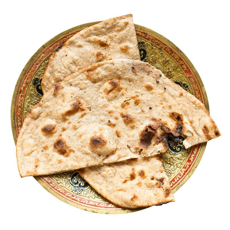 Tandoori Roti whole wheat flat bread isolated stock image