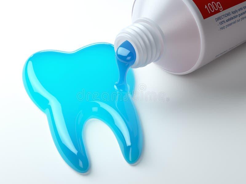 Tandpasta in de vorm van tand die uit uit tandpastabuis komen vector illustratie