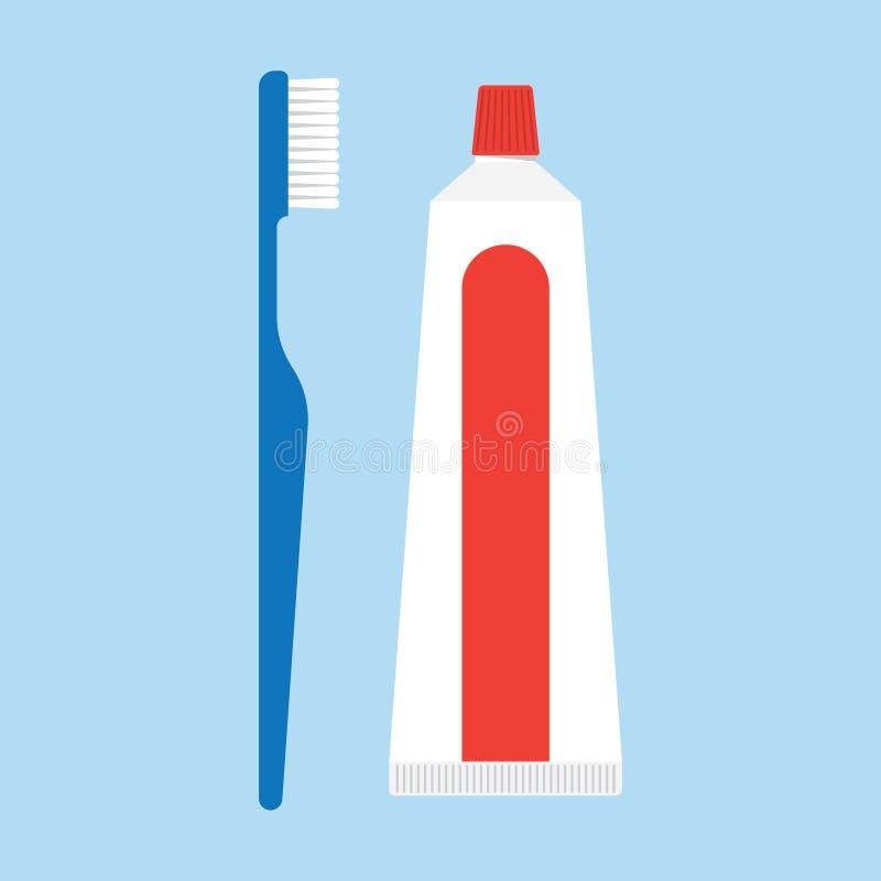 tandpasta en tandenborstels royalty-vrije illustratie