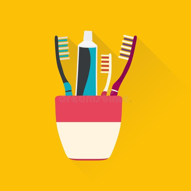 Tandpastabuizen en toothbrushs royalty-vrije illustratie