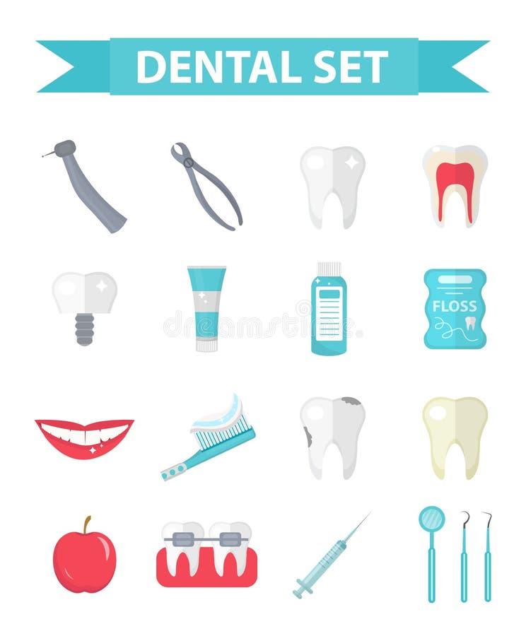 Tandpictogramreeks, vlakke stijl De stomatologieuitrusting op witte achtergrond Tandheelkundeinzameling van ontwerpelementen royalty-vrije illustratie