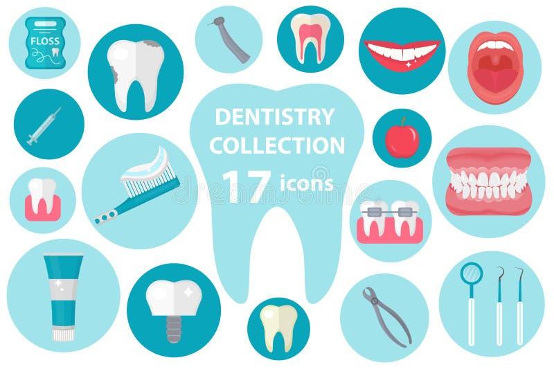 Tandpictogramreeks, vlakke stijl De stomatologieuitrusting op witte achtergrond wordt geïsoleerd die Tandheelkundeinzameling van  royalty-vrije illustratie