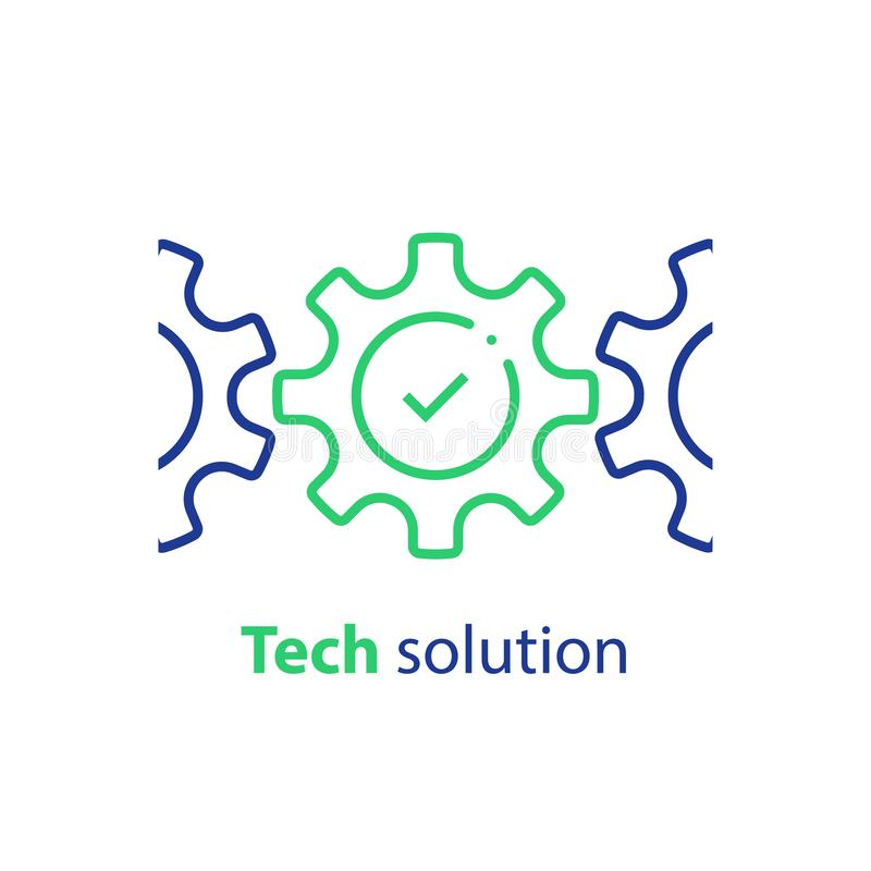 Tandrad en vinkje, integratieconcept, technologieoplossing, systeemnaleving, bedrijfsautomatisering, software-ontwikkeling vector illustratie