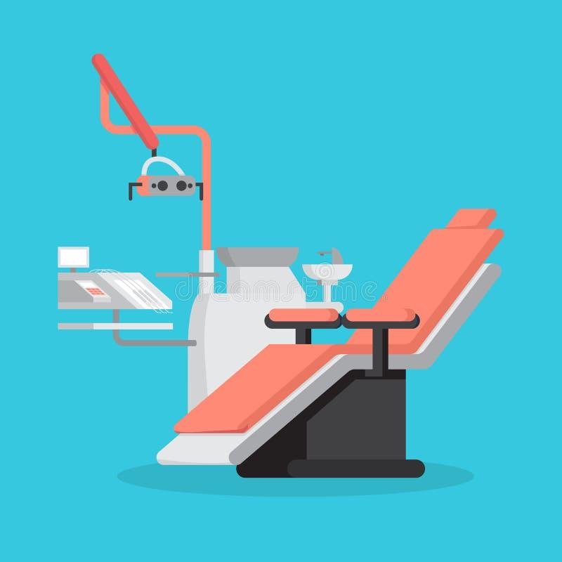 Tandstoel en medische apparatuur voor tanden royalty-vrije illustratie