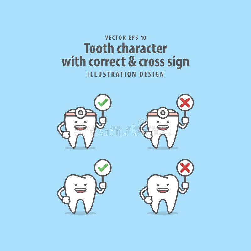 Tandtecken med den korrekta & arga teckenillustrationen stock illustrationer