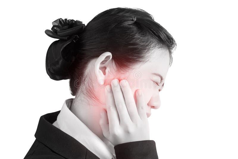 Tandvärktecken i en kvinna som isoleras på vit bakgrund Snabb bana på vit bakgrund fotografering för bildbyråer
