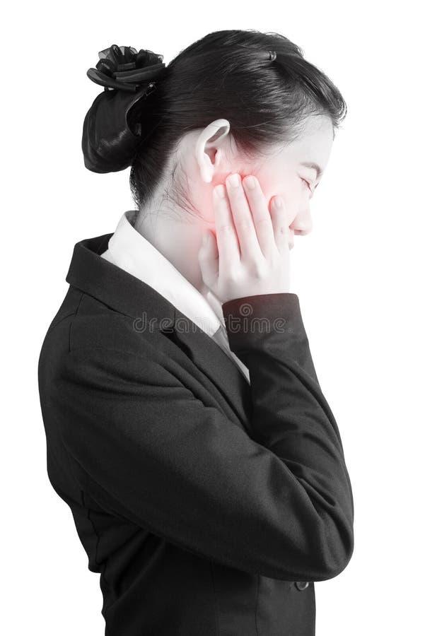 Tandvärktecken i en kvinna som isoleras på vit bakgrund Snabb bana på vit bakgrund royaltyfria bilder