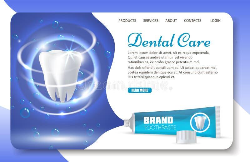Tandvård som landar mallen för sidawebsitevektor royaltyfri illustrationer