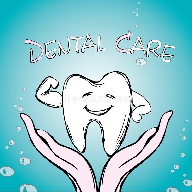 Tandvård tand förestående, royaltyfri illustrationer