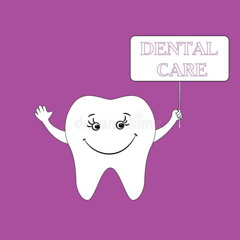 Tandvårddesignbegrepp Mänsklig tand, leende stock illustrationer