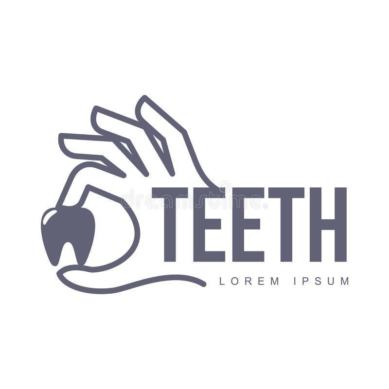 Tandvårdlogomall med den hållande tanden för hand royaltyfri illustrationer