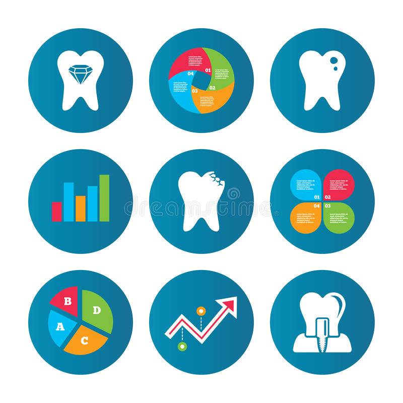 Tandvårdsymboler Karies tand och implantat vektor illustrationer