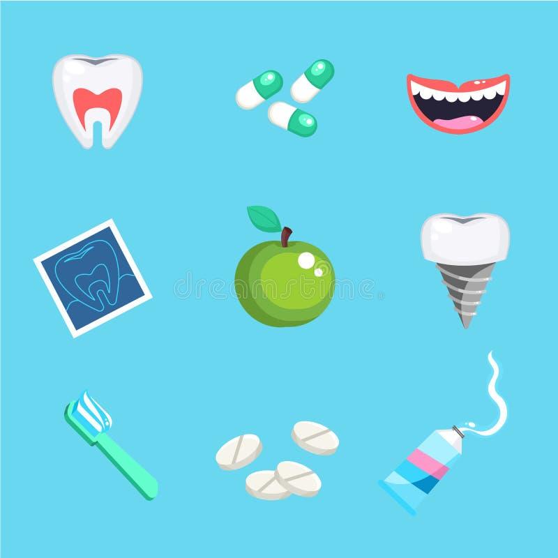 Tandvårdsymboler Uppsättning för hälsa för tandtandvårdmun med kontrolltandläkarebehandling vektor illustrationer