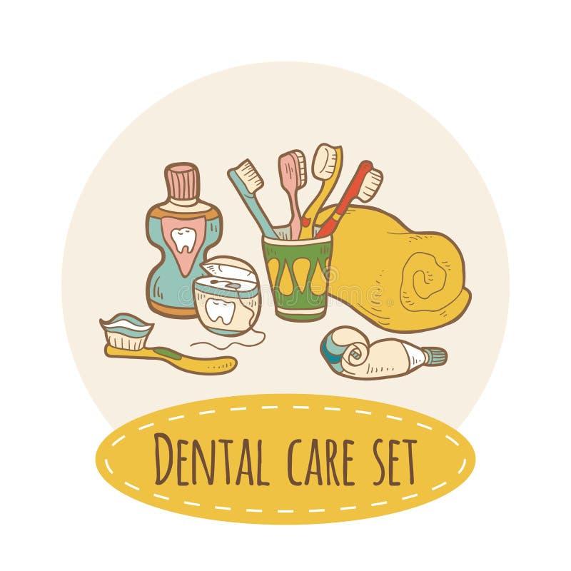 Tandvårduppsättning vektor illustrationer