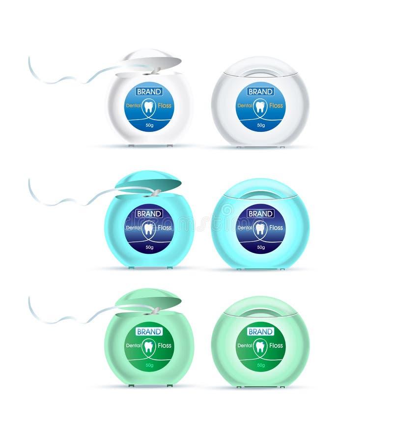 Tandzijde in verschillende kleuren van containers stock illustratie