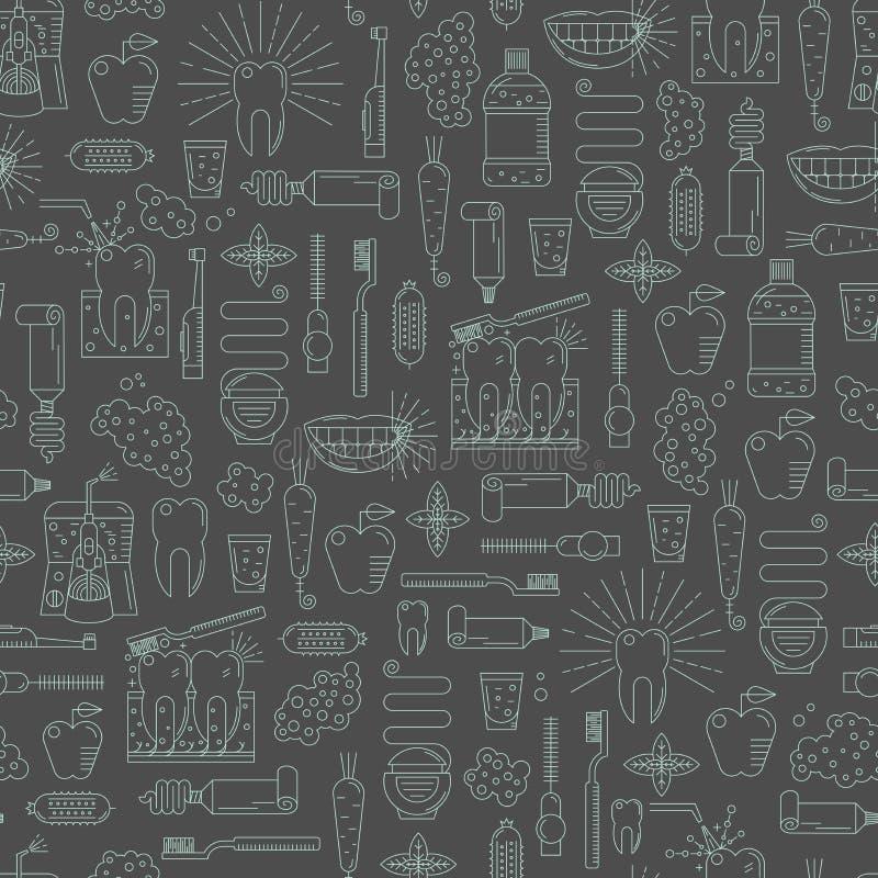 Tandzorg naadloos patroon Eenvoudig lineair ontwerp vector illustratie