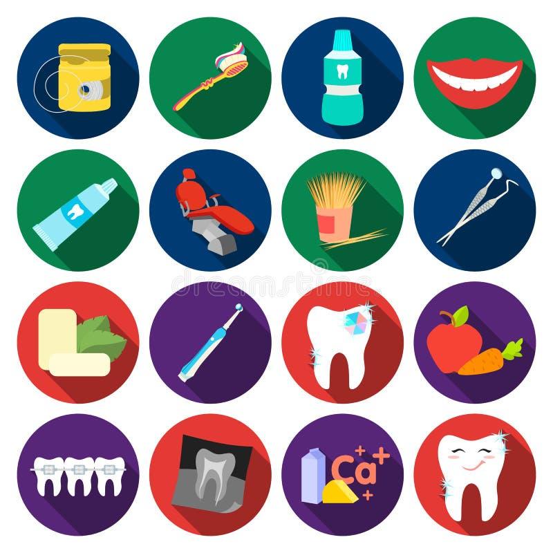 Tandzorg vastgestelde pictogrammen in vlakke stijl Grote inzameling van tand de voorraadillustratie van het zorg vectorsymbool vector illustratie