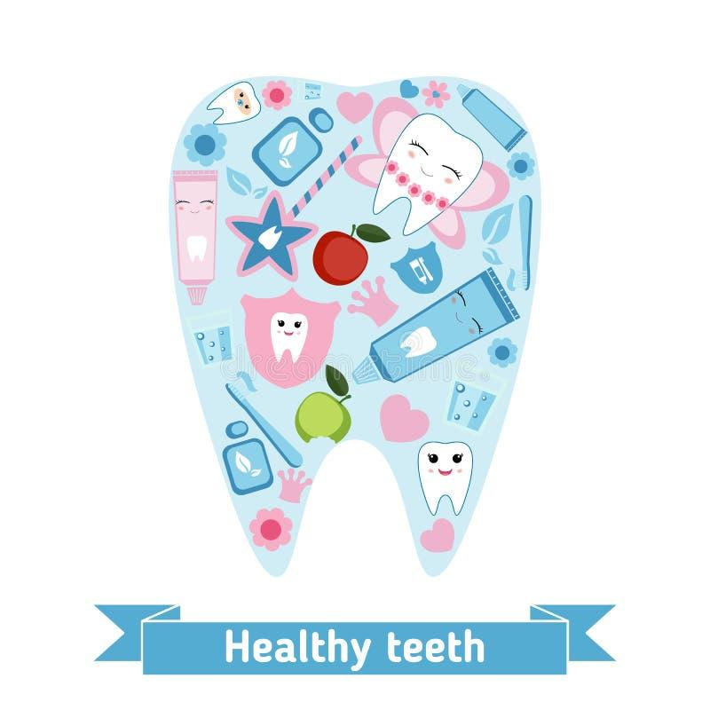 Tandzorgsymbolen in de vorm van tand stock illustratie
