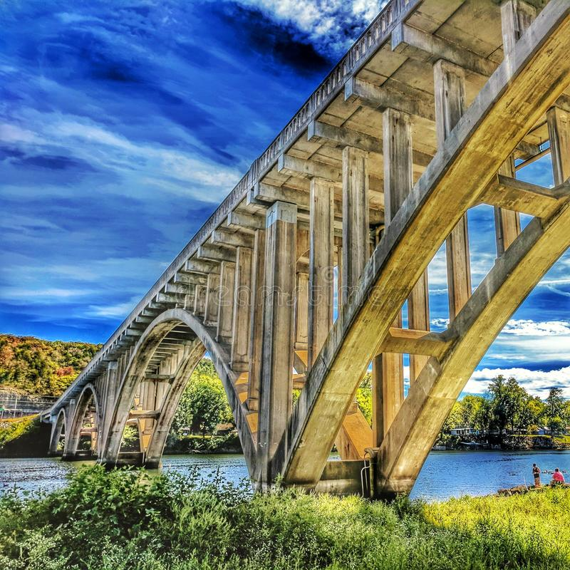 The Taneycomo Bridge in Hdr. stock photography