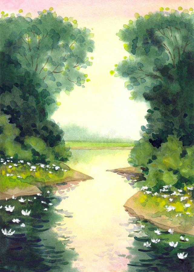?tang avec des lis Peinture d'aquarelle illustration stock